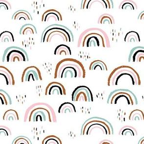 Rainbow love Scandinavian abstract rainbow clouds happy rain sky soft pink blue girls