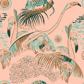 Tropical day and night in linocut look Kreativkollektiv