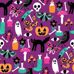 cute halloween fabric - creepy cute fabric, moth, potions, cute halloween design - purple