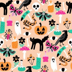 cute halloween fabric - creepy cute fabric, moth, potions, cute halloween design - peach