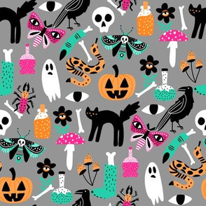 cute halloween fabric - creepy cute fabric, moth, potions, cute halloween design - grey
