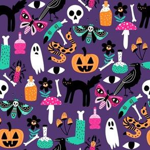 cute halloween fabric - creepy cute fabric, moth, potions, cute halloween design - dark purple
