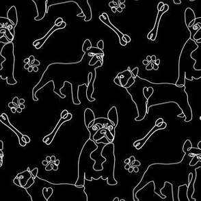 french bulldog fabric - black and white dog fabric, simple minimal fabric, cute dog design - bw