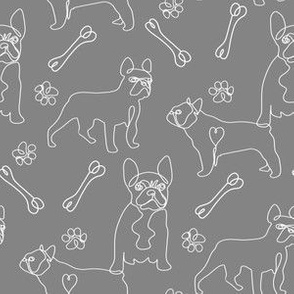 french bulldog fabric - black and white dog fabric, simple minimal fabric, cute dog design - grey