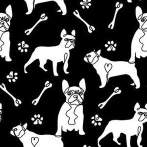 french bulldog fabric - black and white dog fabric, simple minimal fabric, cute dog design -black