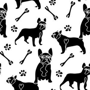 french bulldog fabric - black and white dog fabric, simple minimal fabric, cute dog design - white