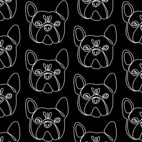 frenchie dog line drawing - continuous line drwaing, dog breed, french bulldog fabric -black