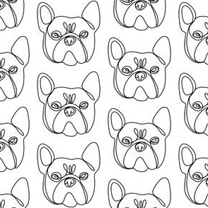 frenchie dog line drawing - continuous line drwaing, dog breed, french bulldog fabric - white