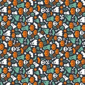 Halloween Retro Pattern Ghosts Pumpkins Skulls Bones Bats SMALLER