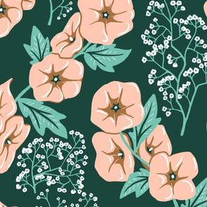 Hollyhock and Baby's Breath - Limited Color Palette