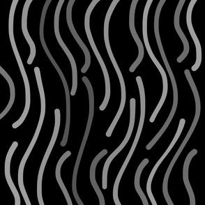 Jungle Fever - greyscale on black, large