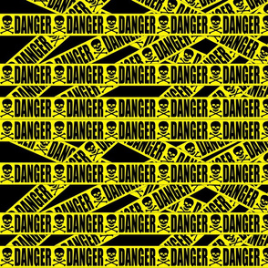 custom smaller barricade tape danger yellow black skulls