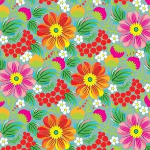 Vintage Orange and Red Flowers and Berries Pattern
