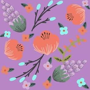 Orange and Blue Floral on Purple