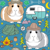 camping guinea pigs on blue