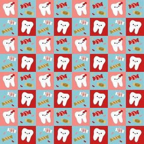 SMALL Happy Teeth Checkerboard -Red Blue Pink