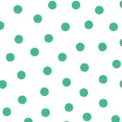 Big Green Polka Dots On White