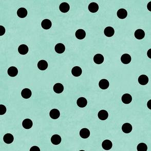 Happy Black Polka Dots On Mint