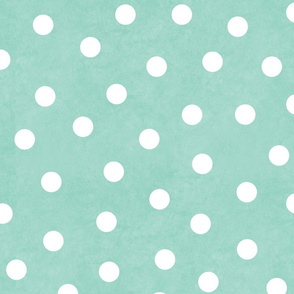 Happy White Polka Dots On Mint