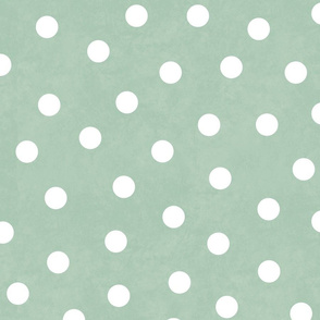 Happy White Polka Dots On Sage