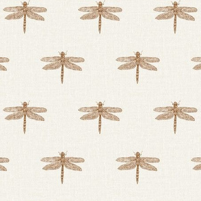 Small Copper Dragonflies on Woven Bone White