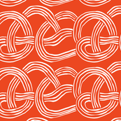 The cool kids_abstract slinky spaghetti white on bright red