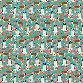 TINY - saint bernard floral dog breed pet fabric teal