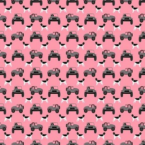 TINY - ess outdoors dog fabric - dog adventure fabric, springer spaniel fabric, english springer spaniel - pink