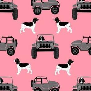 ess outdoors dog fabric - dog adventure fabric, springer spaniel fabric, english springer spaniel - pink