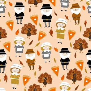 Thanksgiving fabric - pilgrim fabric, thanksgiving fabric, turkey fabric, autumn leaves - light peach