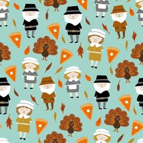 Thanksgiving fabric - pilgrim fabric, thanksgiving fabric, turkey fabric, autumn leaves - mint