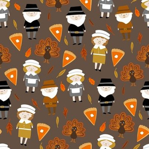 Thanksgiving fabric - pilgrim fabric, thanksgiving fabric, turkey fabric, autumn leaves - brown