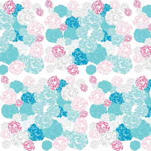 rose blooms - mix pink mint  LG105
