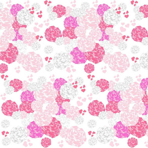 rose blooms and hearts - pink LG105