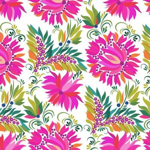 Pink Dahlia Folk Art Pattern