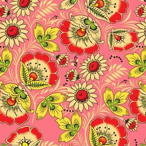Vintage Pink Red Scarf Floral Pattern