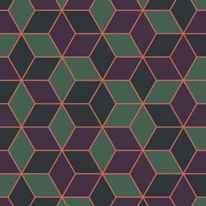 Geometric Green Purple Gray