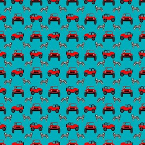 TINY blue heeler adventurer fabric - outdoors, red car, dog fabric - teal