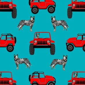 blue heeler adventurer fabric - outdoors, red car, dog fabric - teal