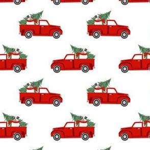 aussie dog christmas truck fabric - australian shepherd fabric, australian shepherd christmas truck - blue merle - white