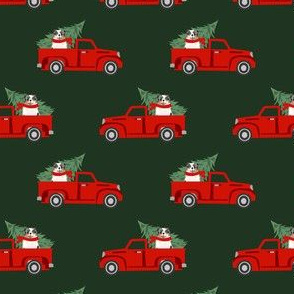 aussie dog christmas truck fabric - australian shepherd fabric, australian shepherd christmas truck - blue merle - green