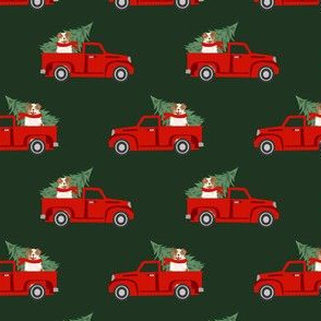 aussie dog christmas truck fabric - australian shepherd fabric, australian shepherd christmas truck - red merle - green