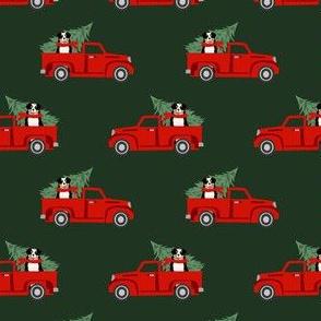 aussie dog christmas truck fabric - australian shepherd fabric, australian shepherd christmas truck - tricolored - green
