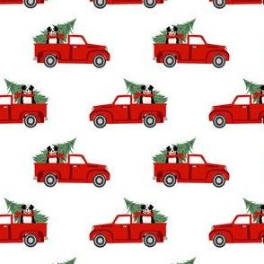 aussie dog christmas truck fabric - australian shepherd fabric, australian shepherd christmas truck - tricolored - white