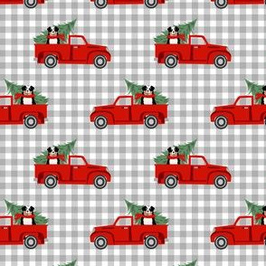 aussie dog christmas truck fabric - australian shepherd fabric, australian shepherd christmas truck - tricolored - plaid