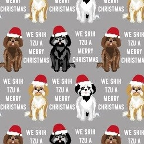 shih tzu christmas fabric - funny shih tsu fabric, dog fabric, christmas dog fabric - grey