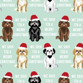 shih tzu christmas fabric - funny shih tsu fabric, dog fabric, christmas dog fabric - mint