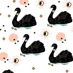 pink moon swan