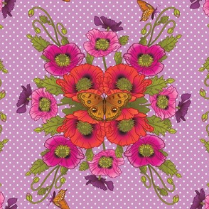 Poppies-Butterflies-Dots-Violet-Large