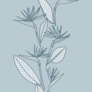 Vertical Bird Of Paradise Blue Tones